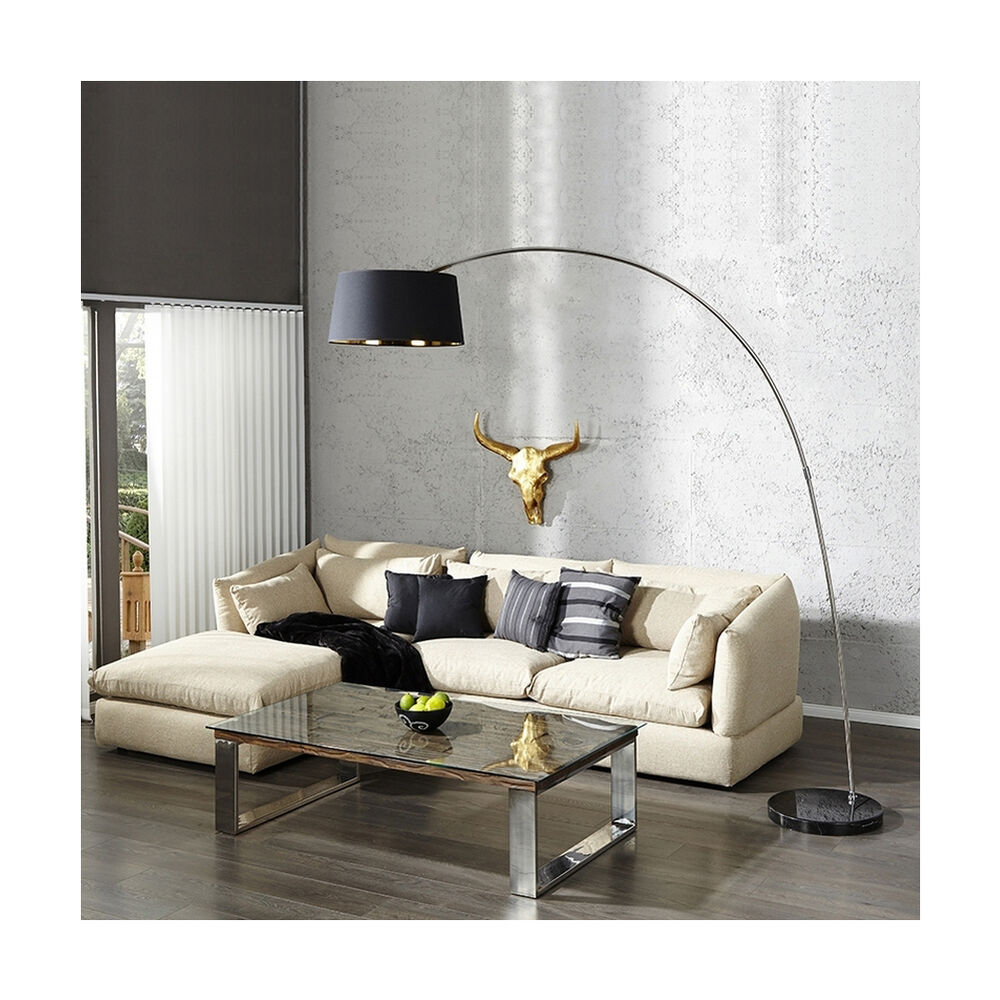 xxl design bogenlampe stehlampe luxor schwarz gold marmorfuss schwarz 215cm ebay. Black Bedroom Furniture Sets. Home Design Ideas