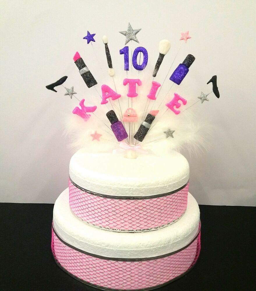 Makeup Bags And Shoes Custom Birthday Cake Topper With