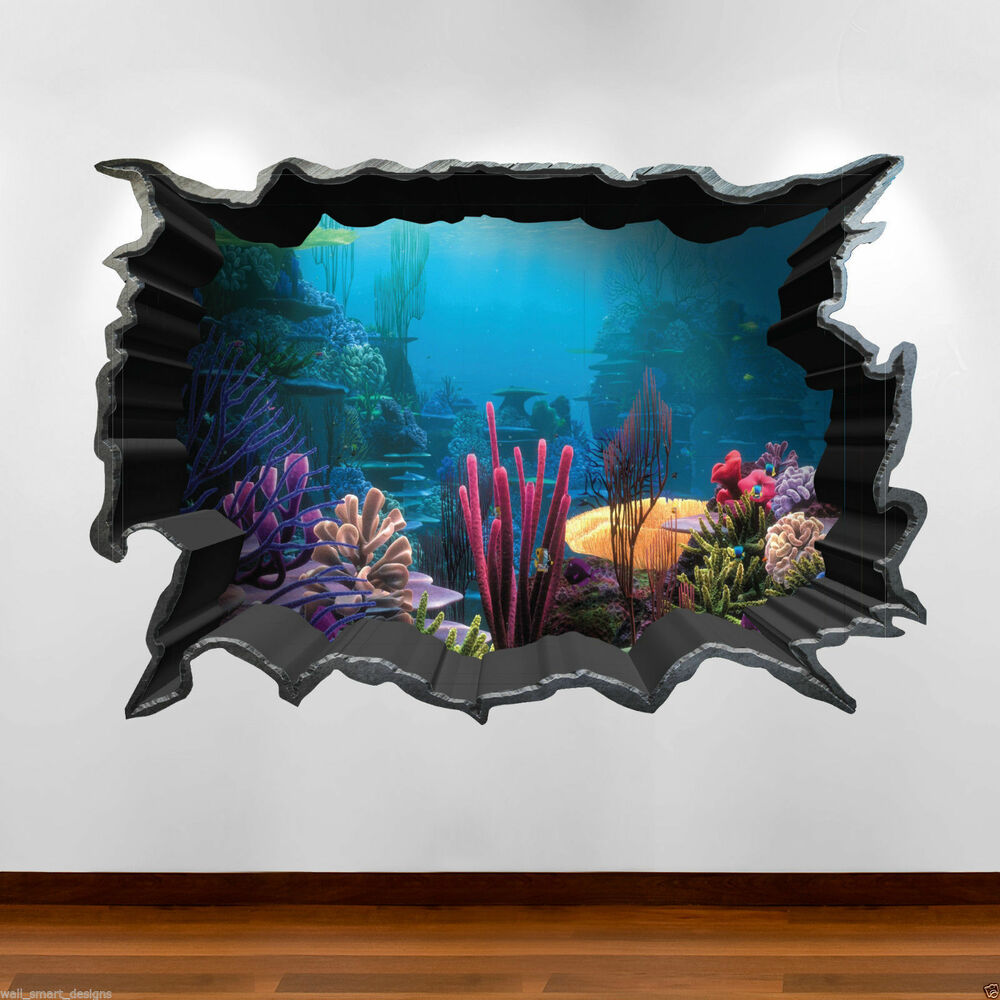 Tropical fish aquarium 3d full colour wall art sticker for Bedroom 3d wall stickers