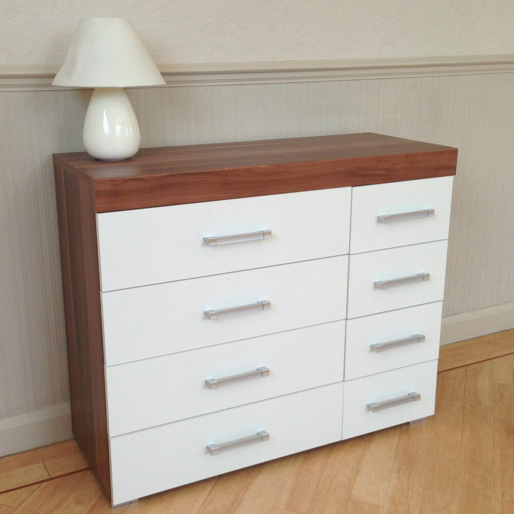 Wide chest of 4 4 drawers in white walnut bedroom for Bedroom furniture chest of drawers