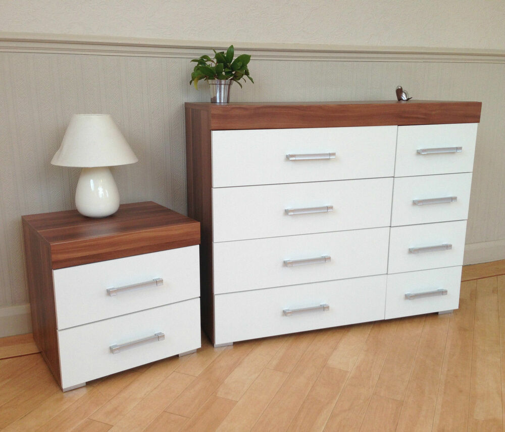 White walnut 4 4 drawer chest 2 drawer bedside cabinet for White bedroom cabinet