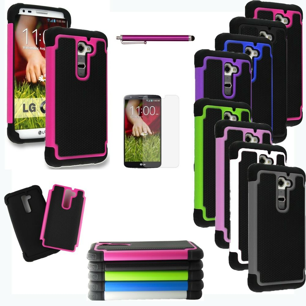 LG phone cases for lg g2 at&t : For LG G2 ATu0026T Sprint T-mobile Verizon Rugged Impact Protective Case ...