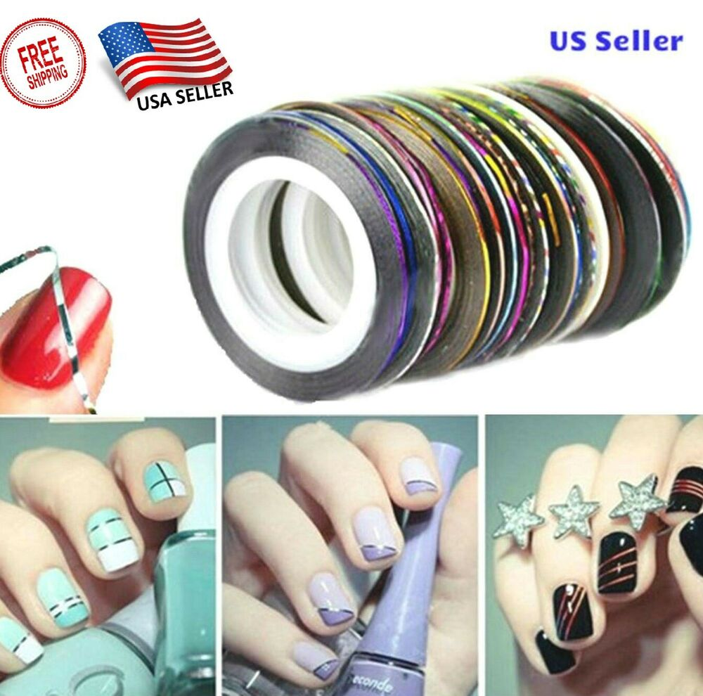 Striping Tape Line Nail Art: Hot Colors Rolls Striping Tape Line Nail Art Tips