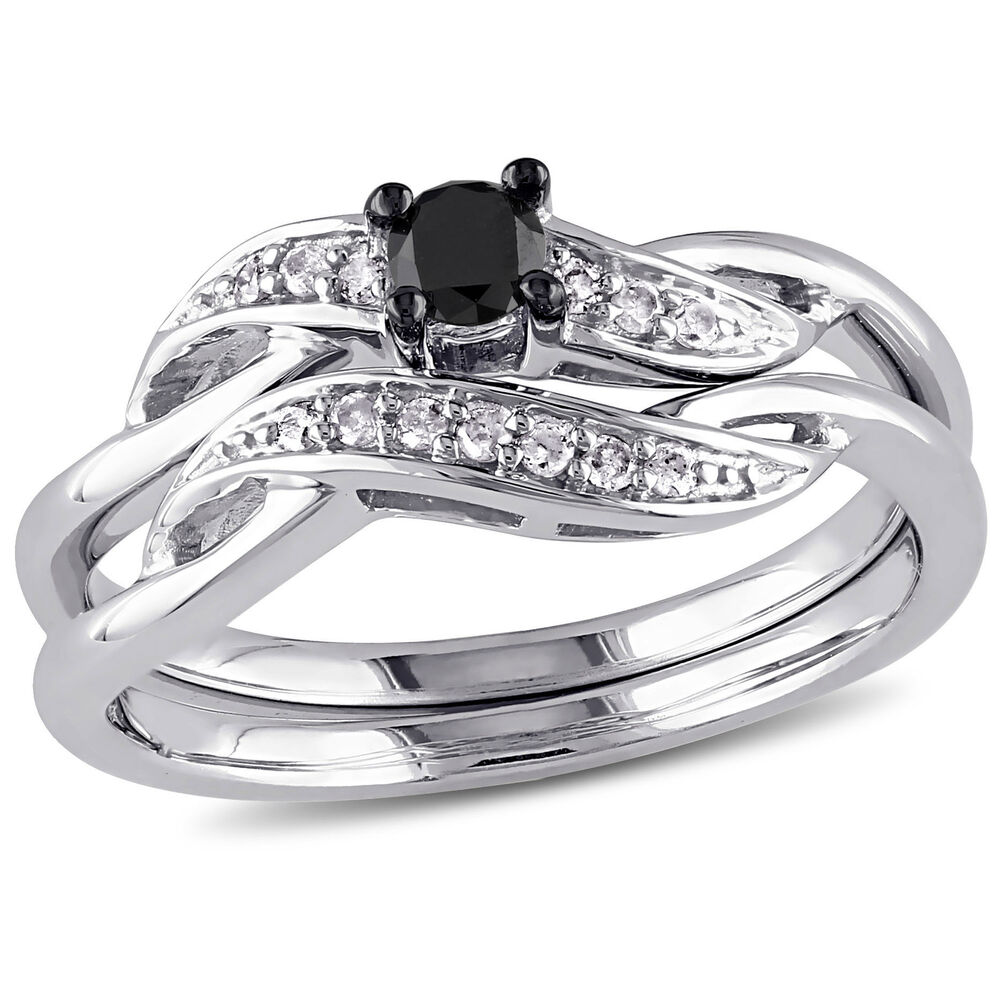 Silver White & Black Diamond Wedding Band Crossover Ring ...