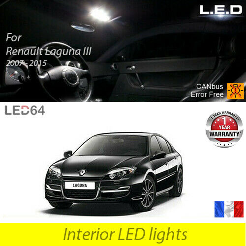 kit complet clairage int rieur ampoules led blanc pour renault laguna 3 iii ebay. Black Bedroom Furniture Sets. Home Design Ideas