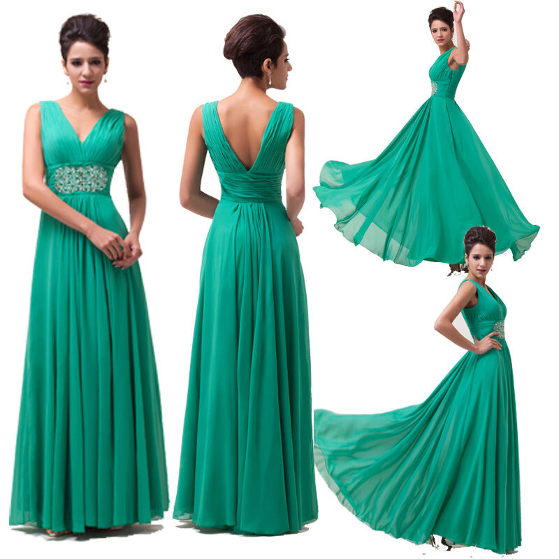 Lady v neck wedding prom evening party gowns bridesmaid for Maxi dresses for wedding party