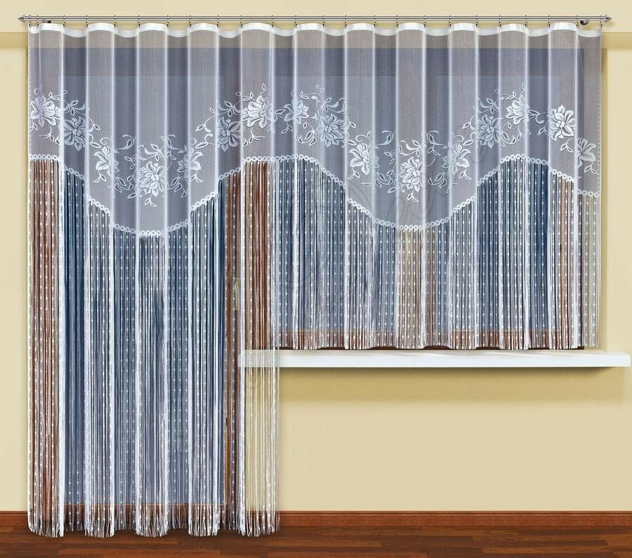Modern Long/short String Curtains Ready To Hang Up WHITE