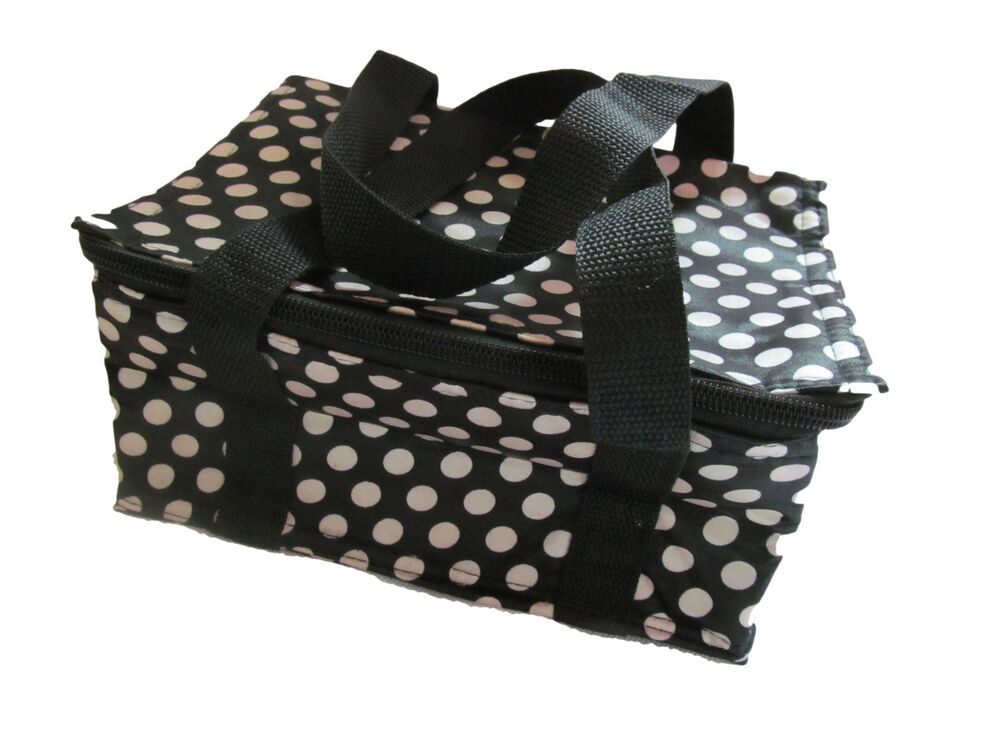 BLACK SPOTS POLKA DOTS INSULATED COOL WARM REUSABLE LUNCH ...