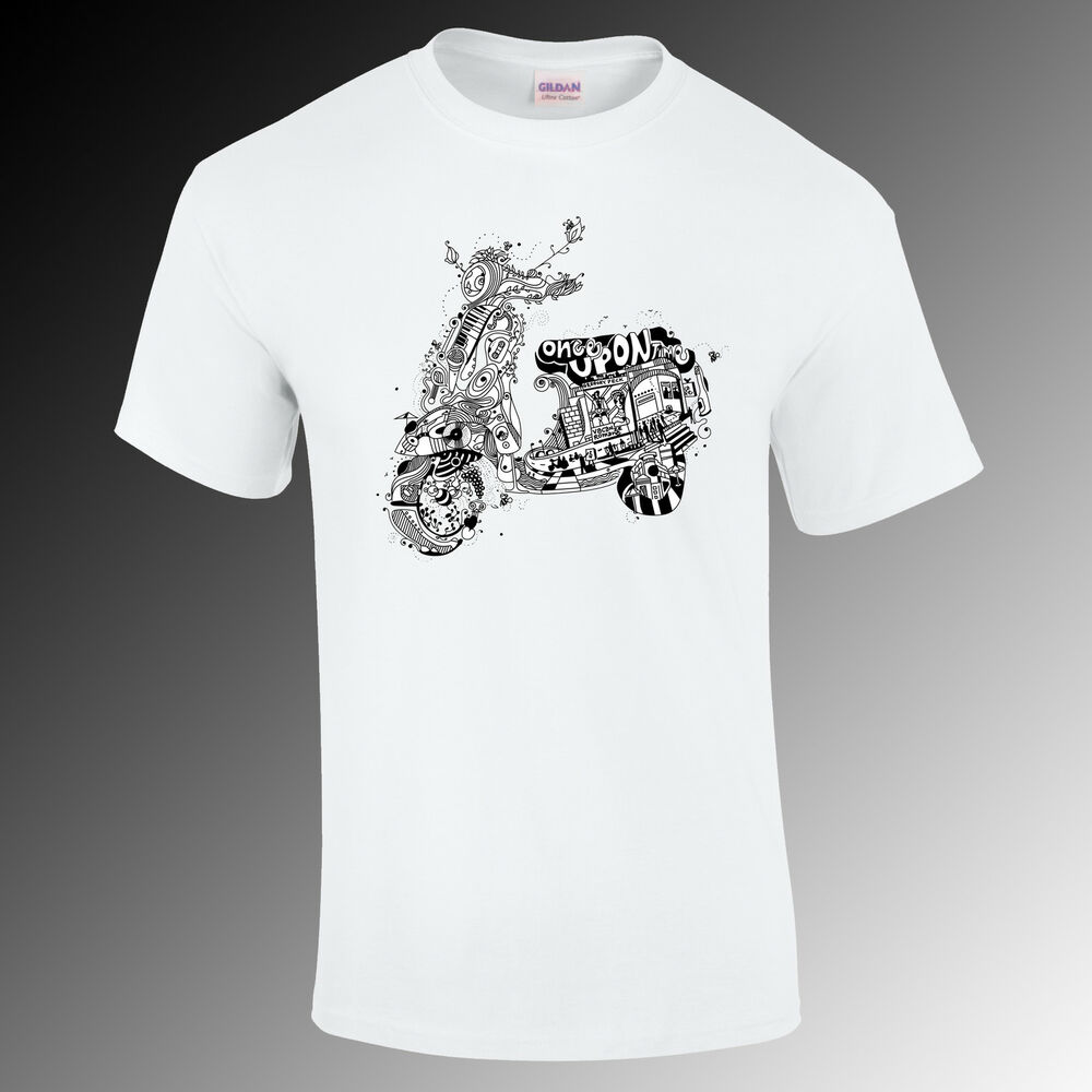 vespa once upon a time design lambtetta mod t shirt scooter gift funny s xxl ebay. Black Bedroom Furniture Sets. Home Design Ideas