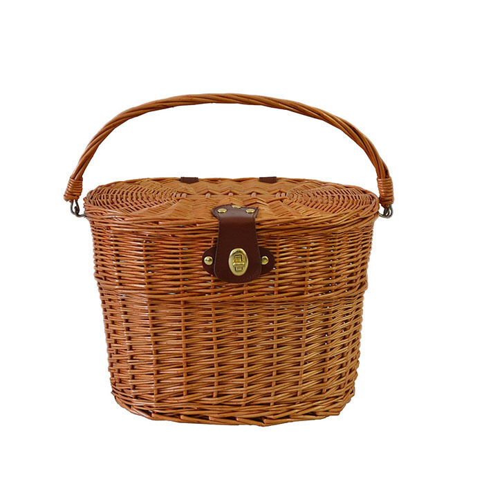 Wicker Bike Basket With Handle : New willow wicker bicycle bike cycling front basket with