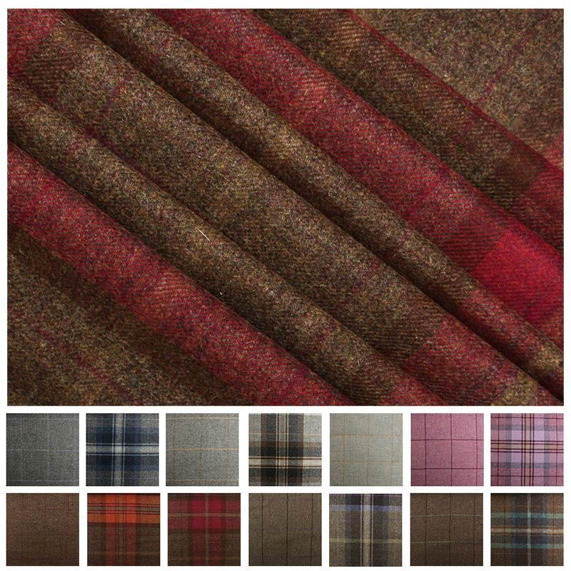 100 Pure Scotish Upholstery Wool Woven Tartan Check Plaid