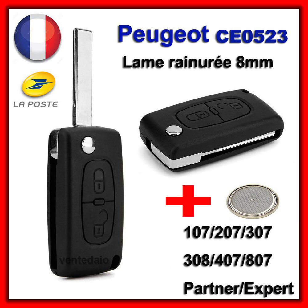 coque plip cl bip peugeot 106 107 206 207 407 2 bouton lame rainur e ce0523 ebay. Black Bedroom Furniture Sets. Home Design Ideas