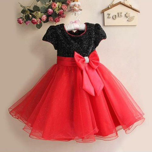 Girls Red Black Pink White Sparkle Princess Christmas ...