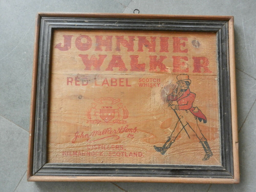 Vintage Wooden Framed Johnnie Walker Whisky Ad Sign Board