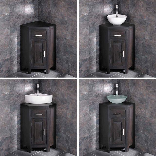Solid Oak Corner Bathroom Vanity Unit Cabinet Wenge With