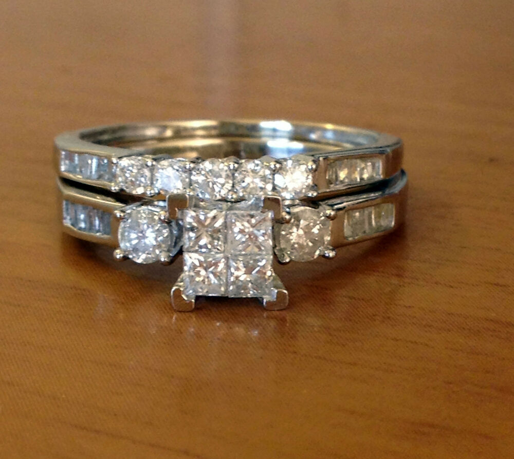 10k white gold princess cut round diamonds engagement for Ebay diamond wedding ring sets