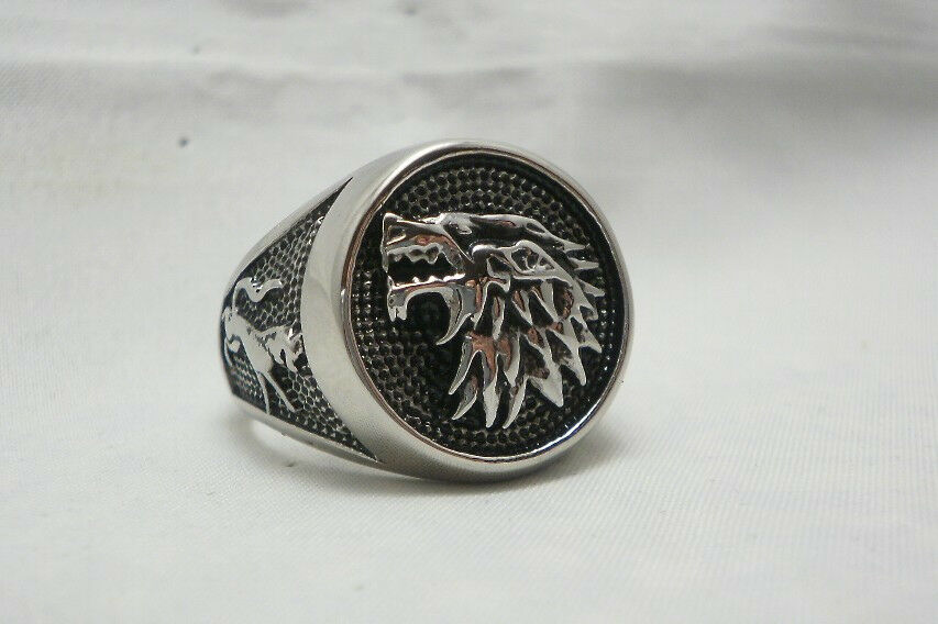 Game Of Thrones House Stark Ring Direwolf Wolf Ring Ebay