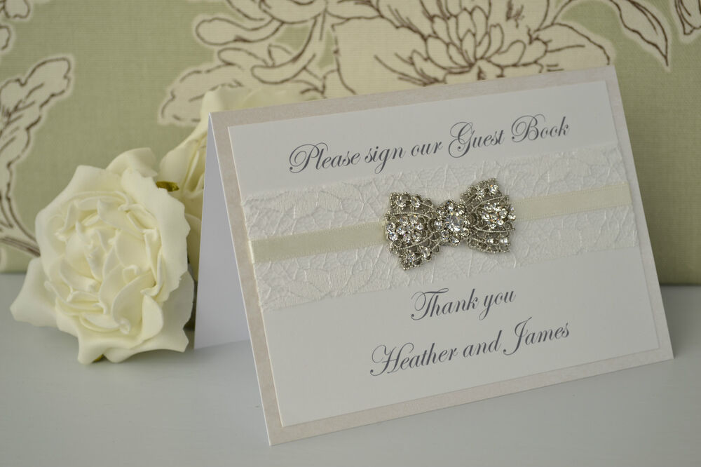 Handmade personalised wedding guest book sign vintage for Photo wedding guest book