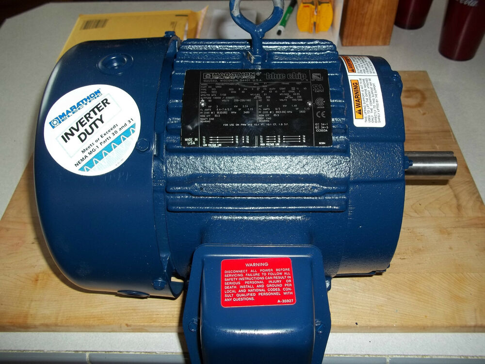 New Marathon Elec Blue Chip Motor 3hp 3 Phase