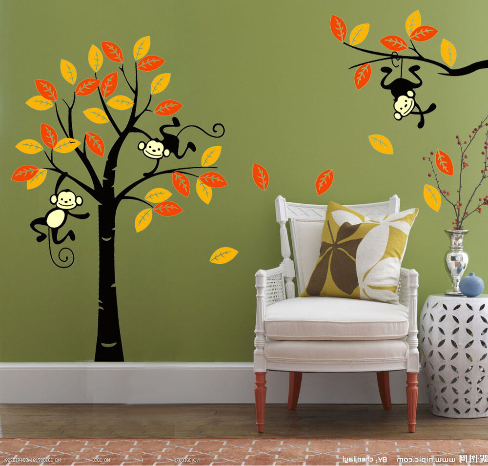 monkey tree jungle nursery wall art stickers children bedroom uk ebay. Black Bedroom Furniture Sets. Home Design Ideas
