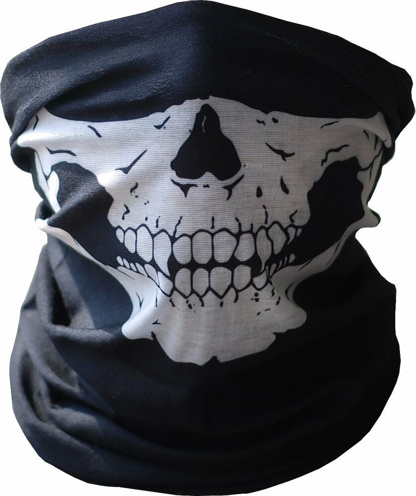 Skull Tubular Mask Bandana Motorcycle Scarf Face Neck Warmer ...