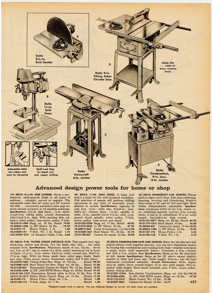 1959 AD DELTA WOODWORKING TOOLS, DISC SANDER, CIRCULAR SAW, JOINTER ...