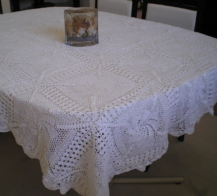 Crochet Table Cloth 100 Cotton Hand Made White Or Beige
