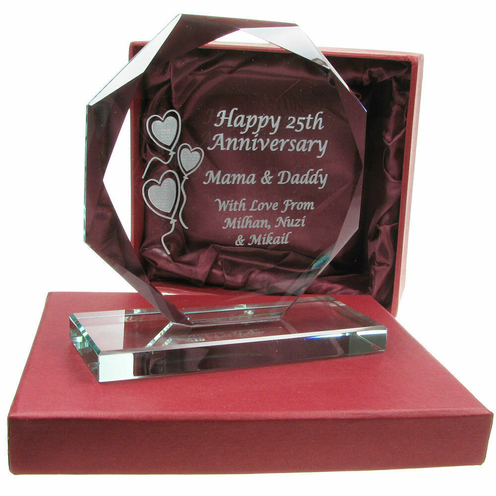 Silver Wedding Gifts Ideas: Personalised 25th Silver Wedding Anniversary Engraved Cut