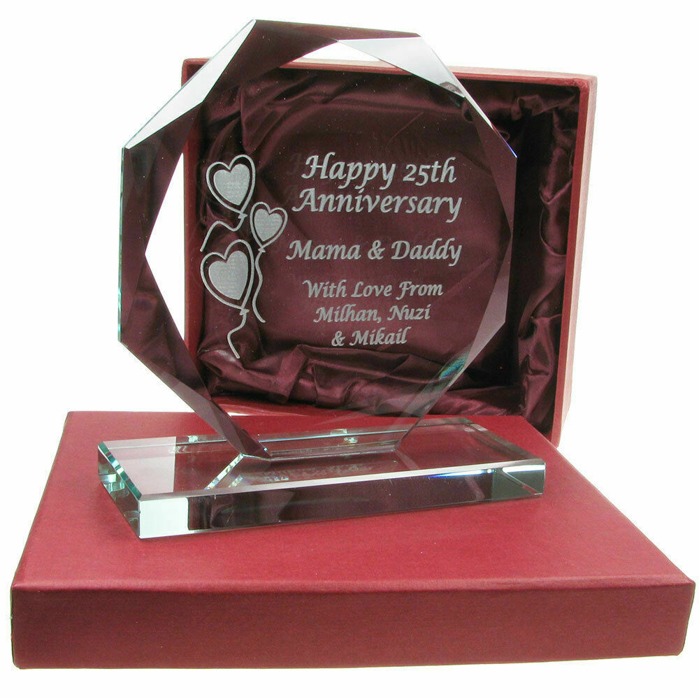 40 Year Wedding Anniversary Gift Ideas: 40th Ruby Wedding Anniversary Engraved Cut Glass Gift