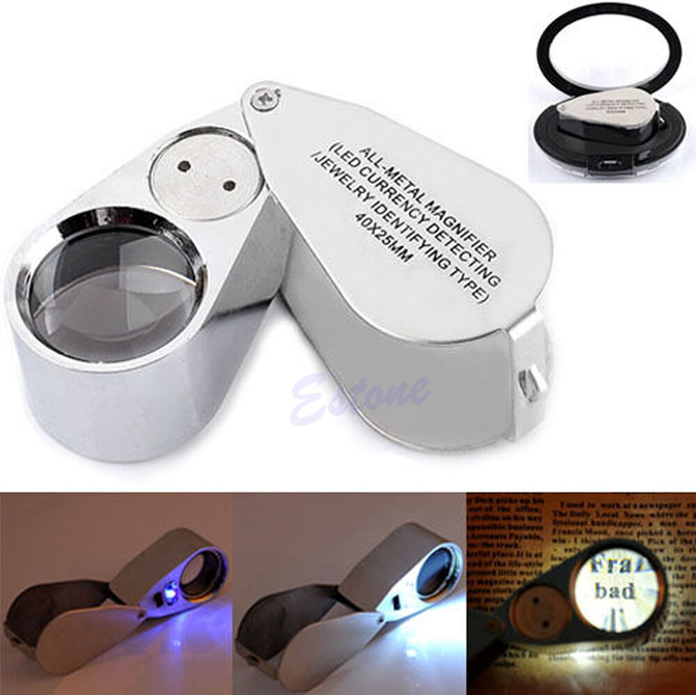 40x25mm led uv lights glass jewelers magnifier magnifying. Black Bedroom Furniture Sets. Home Design Ideas