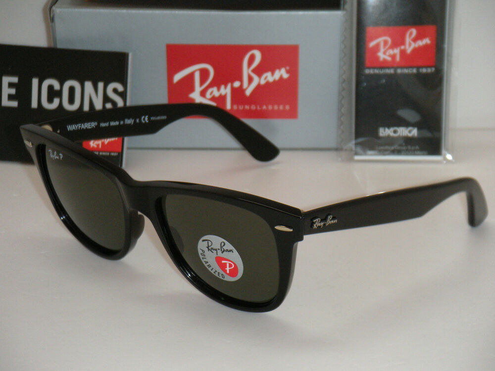 ray ban rb2140  ray ban original wayfarer black w/ natural green polarized rb 2140 901/58 54mm