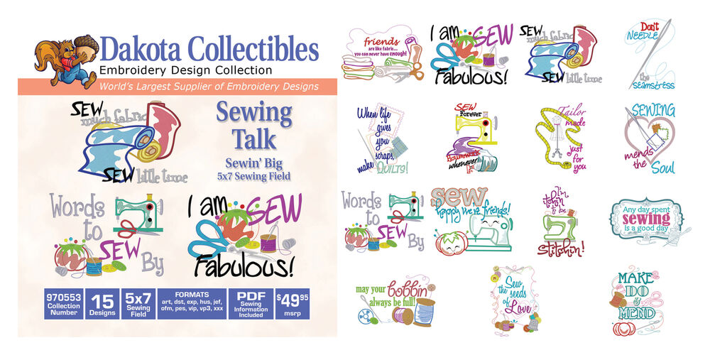 Dakota embroidery machine design cd sewing talk 5x7 for Embroidery office design 7 5 full