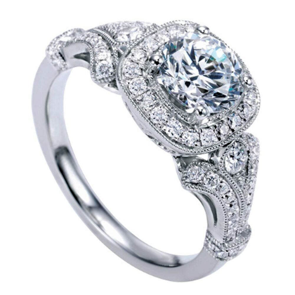 18K G H SI 1 42ct Round Cut Halo Victorian Diamond Engagement Ring