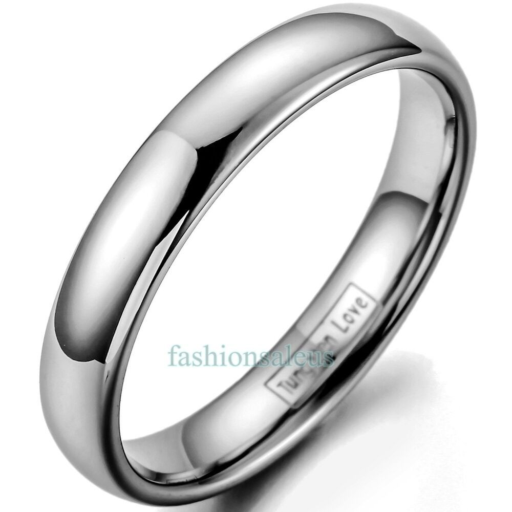 womens tungsten wedding rings 4mm polished tungsten carbide dome ring men s women s 1468