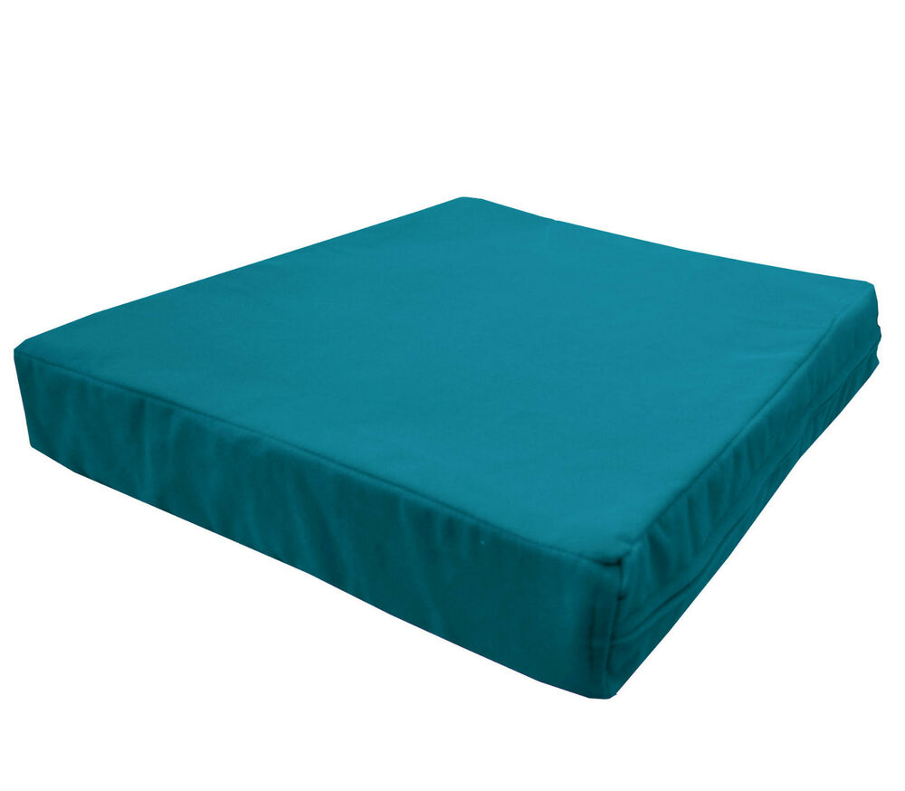 Mb69t Teal Blue Flat Velvet Style 3d Box Sofa Seat Cushion