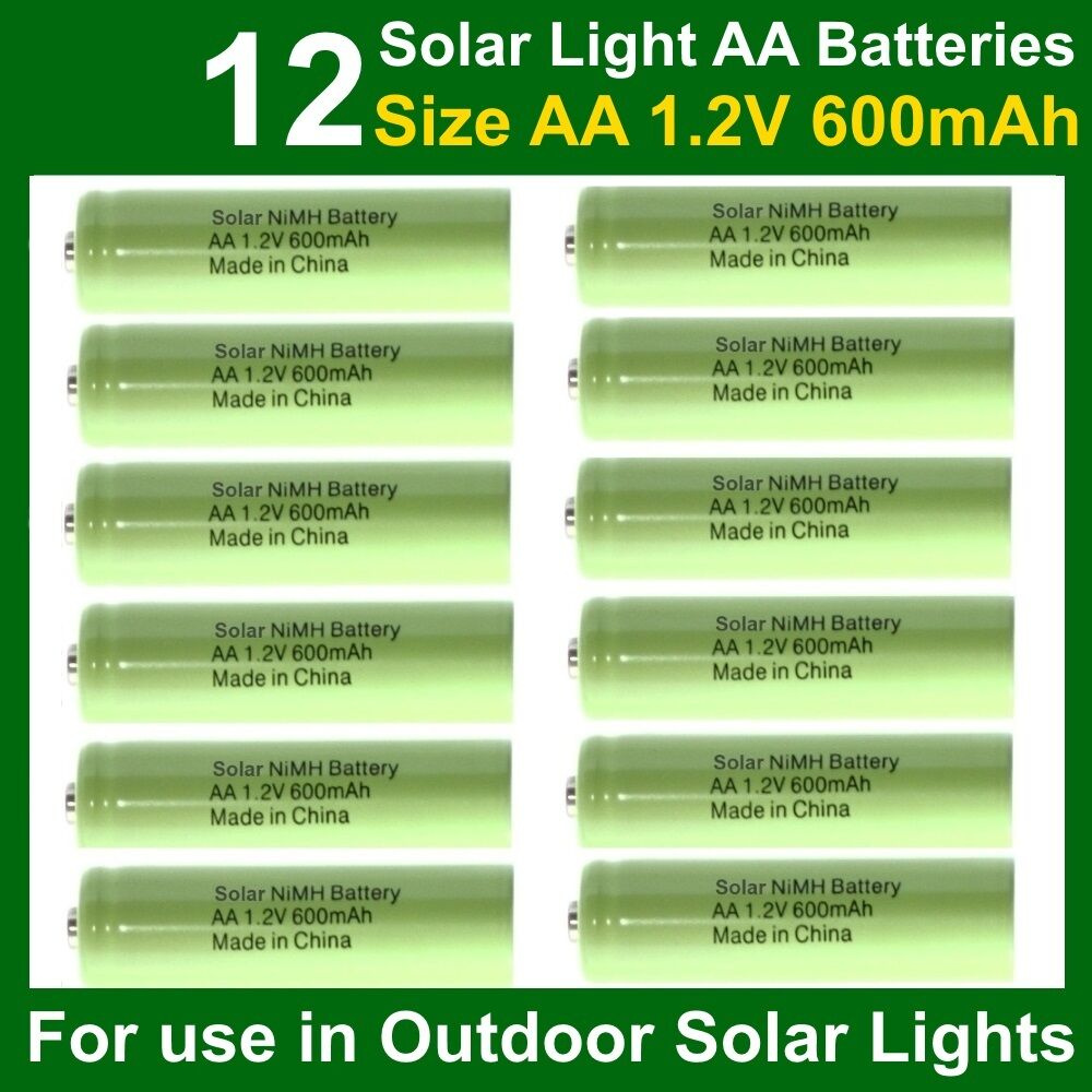 12 X Aa 1 2v 600mah Nimh Rechargeable Batteries For Garden Solar Lights Nicd Uk Ebay