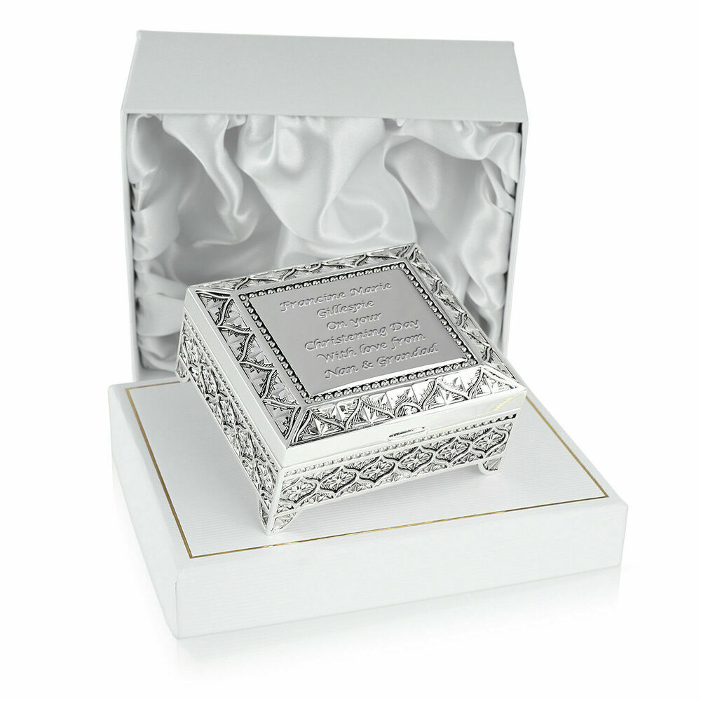 Christening gift personalised engraved silver plated christening trinket box ebay - Gifts for baby christening ideas ...