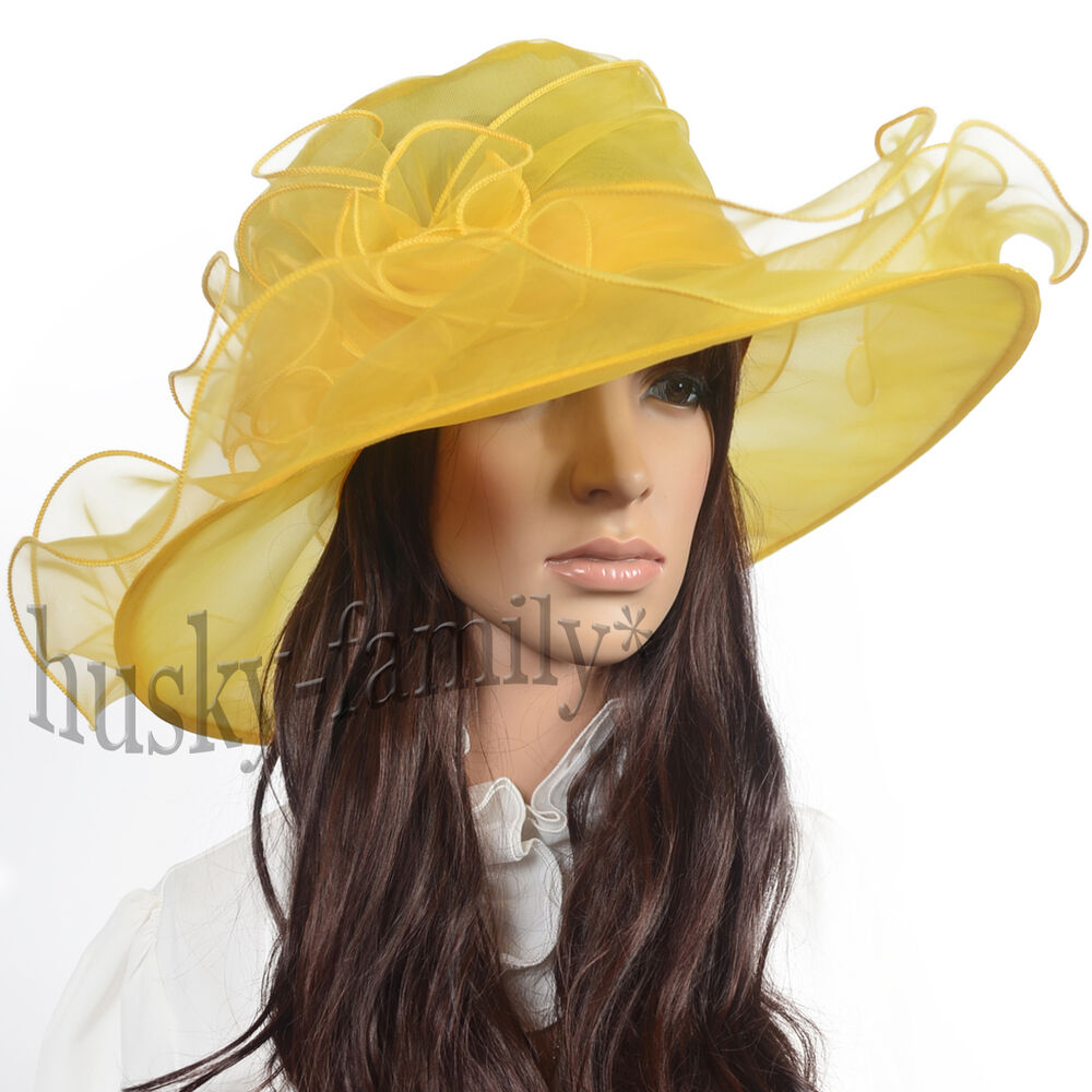 Kentucky wedding church dress derby hat wide brim organza for Dress hats for weddings