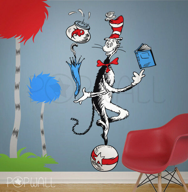 Cat In The Hat Characters: Children Wall Decal Wall Sticker Dr Seuss Character The
