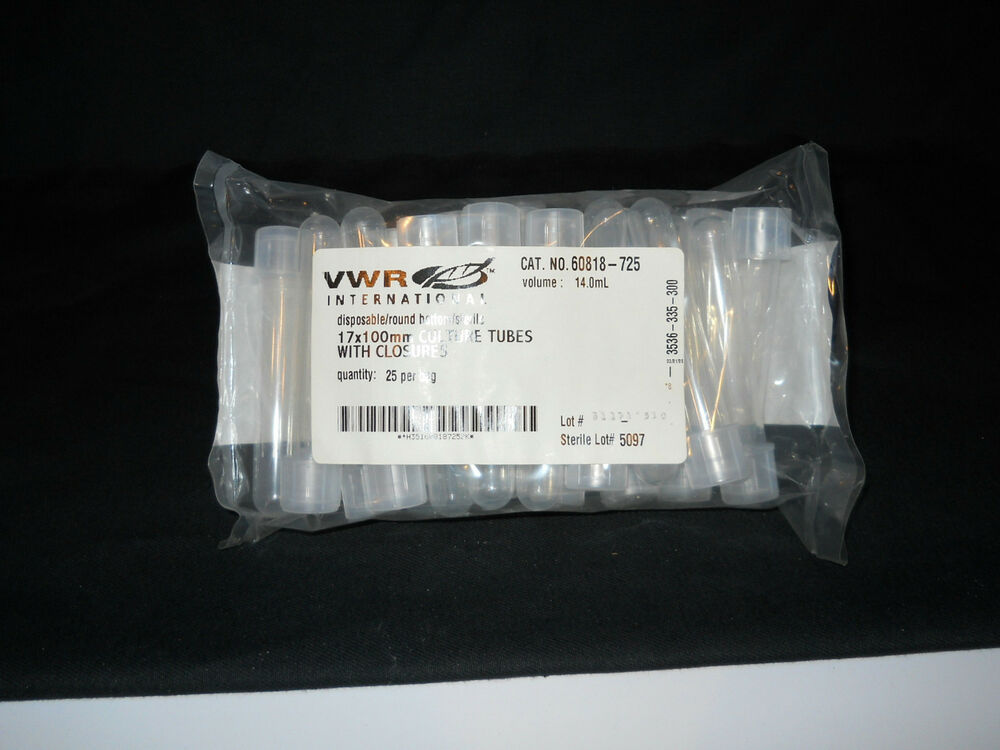 (25) VWR Sterile 14mL Disposable 17x100mm Round Bottom Culture Tubes & Cap | eBay
