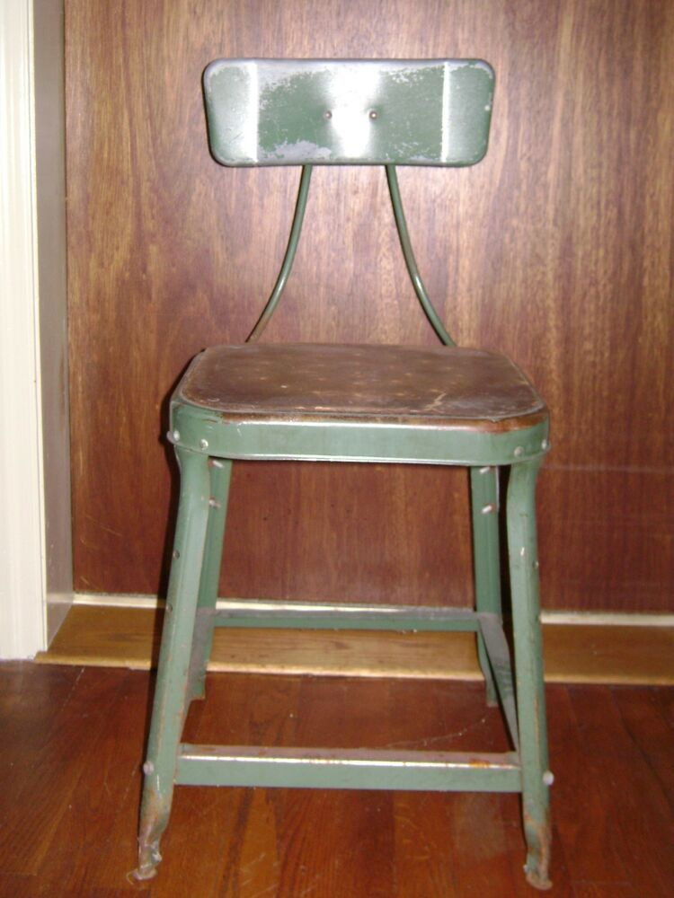 Antique green industrial metal machinist stool pinterest for Repurposed metal furniture