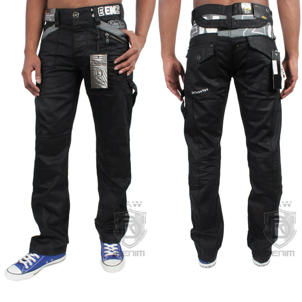 new mens enzo denim black jeans designer coated waist size 30 32 34 36 38 40 42 ebay. Black Bedroom Furniture Sets. Home Design Ideas