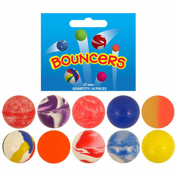 10x Colorful 27mm Bouncy Jet Balls Kids  Toy For Pinata Loot Party Bag Fillers;