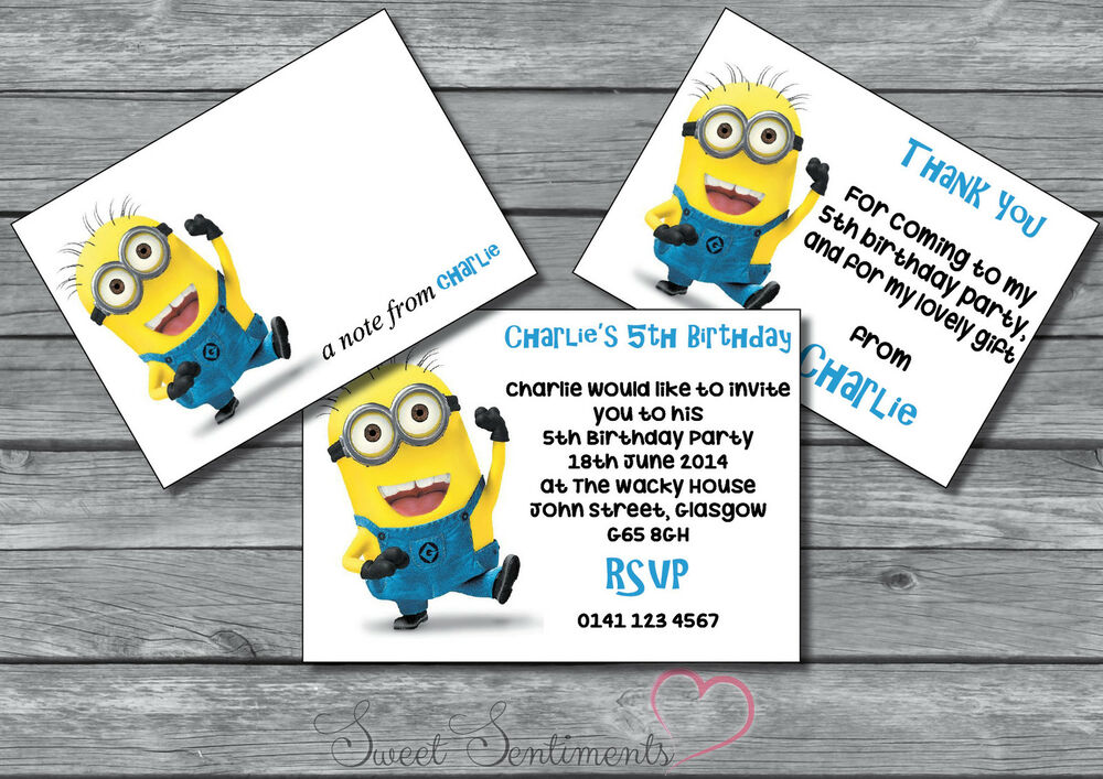Despicable Me Minions Personalised Birthday Party Invite Thank You ...
