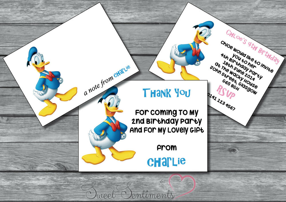 Donald Duck Personalised Kids Invite /Thank You Card / Note 12 ...