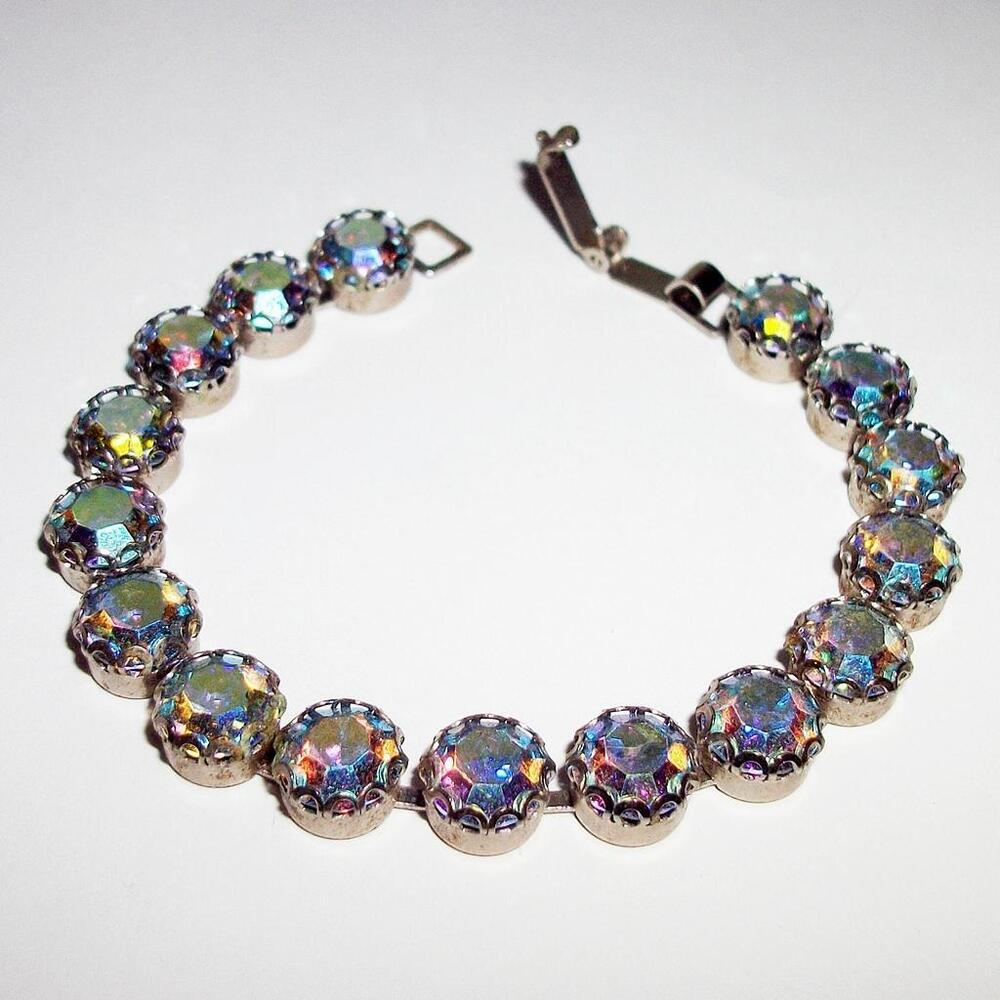 vintage weiss aurora borealis rhinestone bracelet ebay. Black Bedroom Furniture Sets. Home Design Ideas