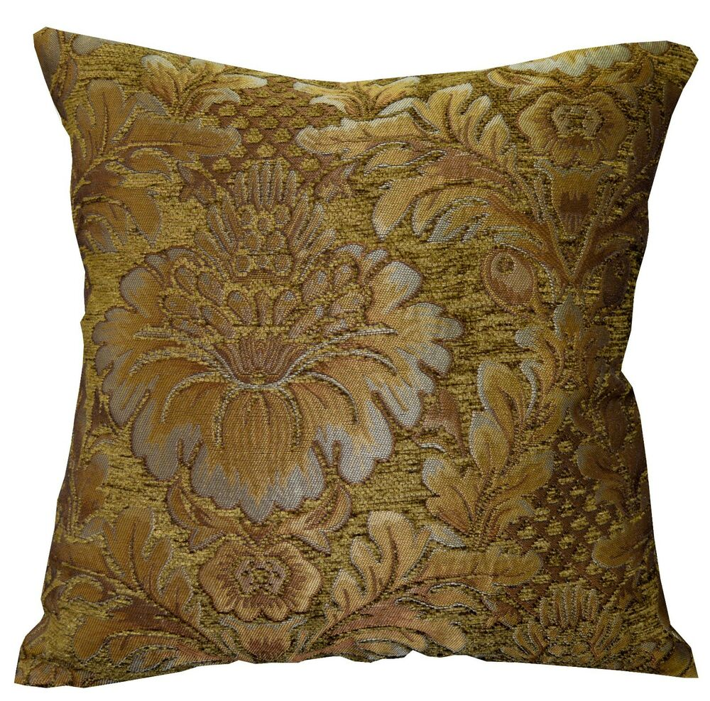 Gold Damask Throw Pillow : we58a Gold Tan Damask Flower Chenille Throw Pillow Case/Cushion Cover*Cus-Size eBay