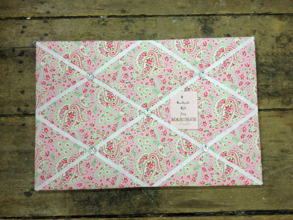 large cath kidston ikea paisley fabric pin memo notice board 60x40cm shabby chic ebay. Black Bedroom Furniture Sets. Home Design Ideas