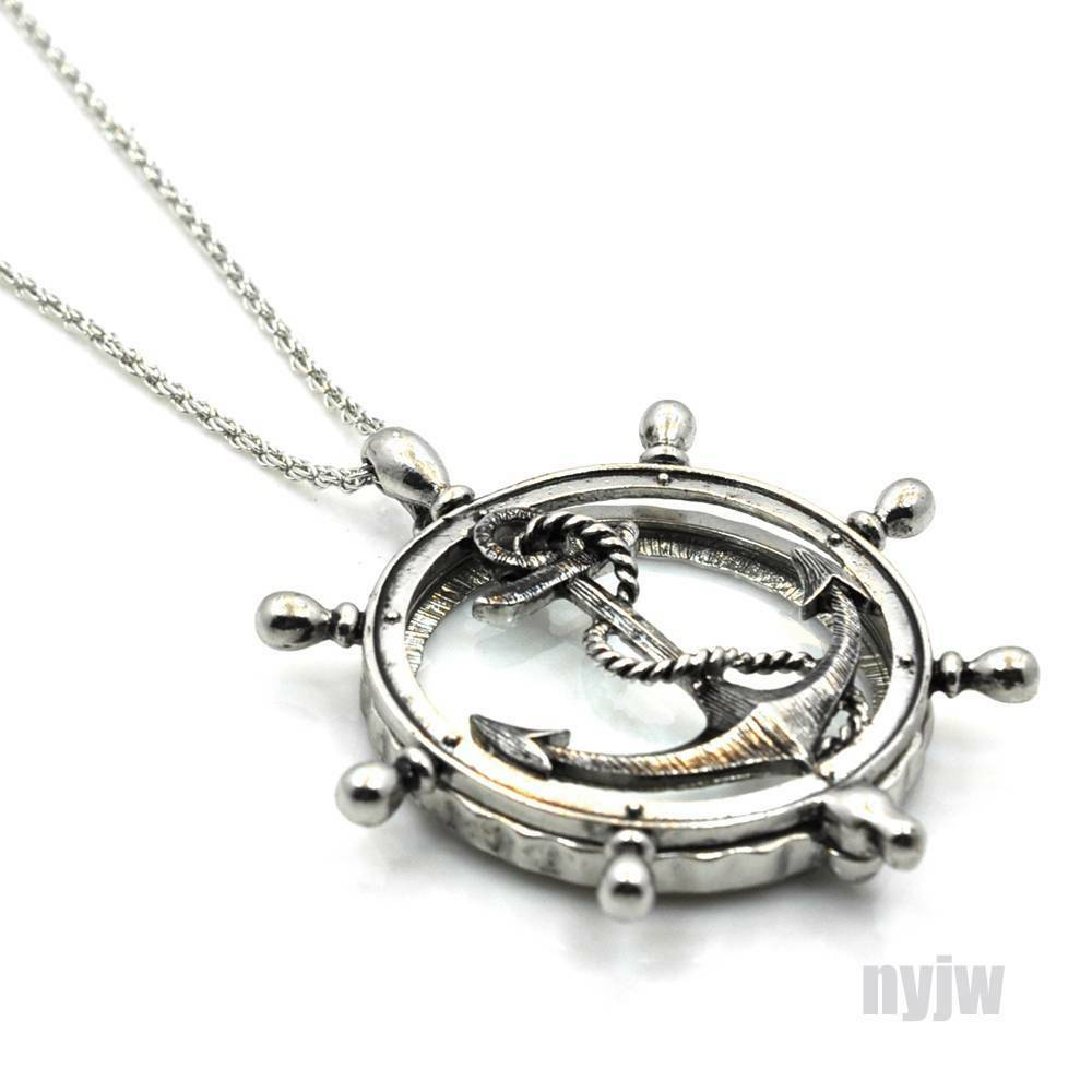 New Silver Magnifying Glass Wheel With Anchor Pendant 31