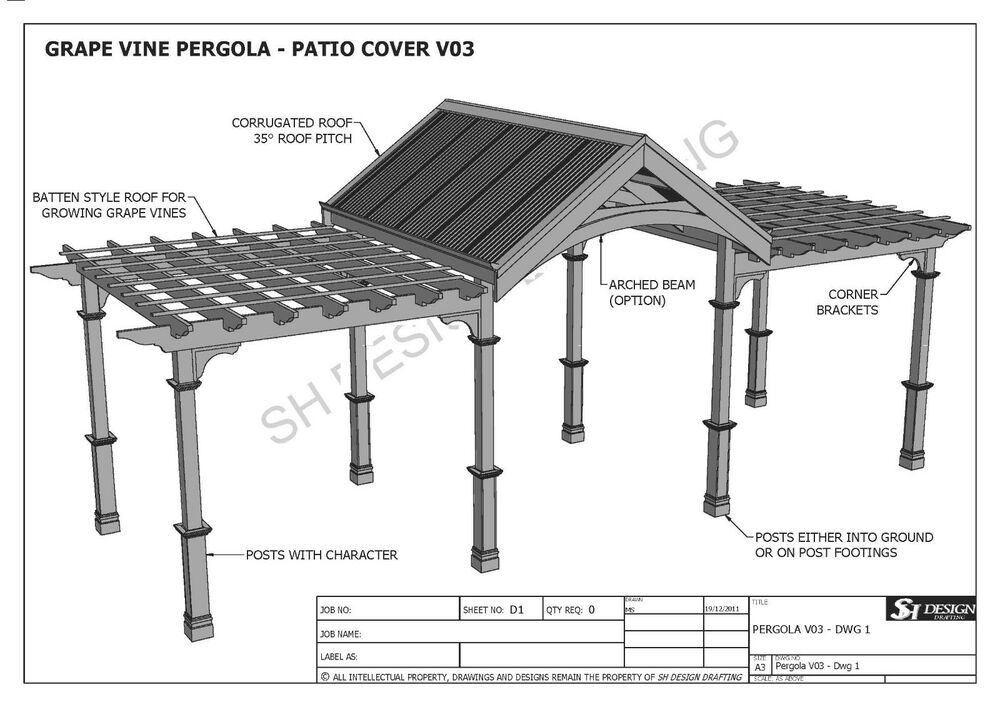 Grape vine outdoor pergola patio cover veranda v3 full for Parts of a pergola